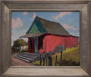 """Jon Blanchette, """"Joss House, Mendocino (California)"""", oil painting fine art for sale purchase buy sell auction consign denver colorado art gallery museum"""
