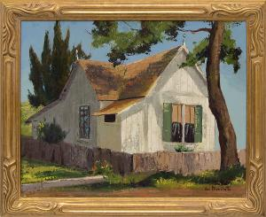 """Jon Blanchette, """"Old Field Home in Capitola (206 Central Avenue)"""", oil, circa 1955 for sale purchase consign auction denver Colorado art gallery museum"""