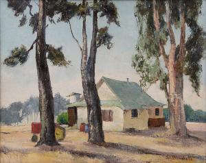 """Jon Blanchette, """"Capitola, Used To Be Airfield (California)"""", oil, circa 1950, painting, for sale purchase consign auction denver Colorado art gallery museum"""