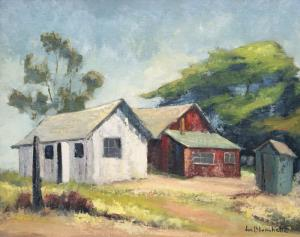 """Jon Blanchette, """"Barns in Soquel (California)"""", oil, circa 1950, painting, for sale purchase consign auction denver Colorado art gallery museum"""
