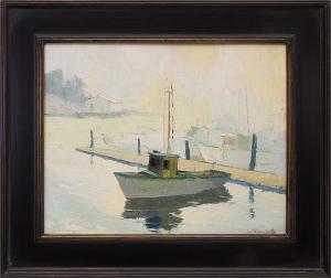 "Jon Blanchette, ""Santa Cruz Harbor (California)"", oil, circa 1950, painting, for sale purchase consign auction denver Colorado art gallery museum"