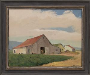 """Jon Blanchette, """"Untitled (White Barn, Southern California)"""", oil, circa 1955, painting, for sale purchase consign auction denver Colorado art gallery museum"""