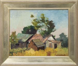 """Jon Blanchette, """"Untitled (Old Barns, Southern California)"""", oil painting fine art for sale purchase buy sell auction consign denver colorado art gallery museum"""