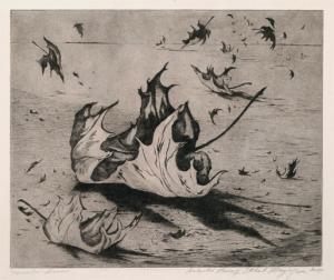 "Ethel Magafan, ""November Leaves, Artist Proof"", etching, c. 1947"