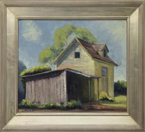 "Jon Blanchette, ""East Santa Cruz (Southern California)"", oil, circa  1955 for sale purchase consign auction denver Colorado art gallery museum"