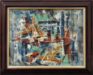 "Charles Ragland Bunnell, ""New York Harbor"", oil, 1955 painting for sale purchase consign auction denver Colorado art gallery museum"