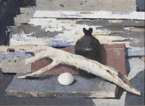 "Paul Sample, ""Still Life with Old Wood and Egg"", oil, 1965"