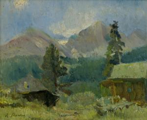 "Randall Vernon Davey, ""Untitled (Cabin near Estes Park, Colorado)"", oil, c. 1927"