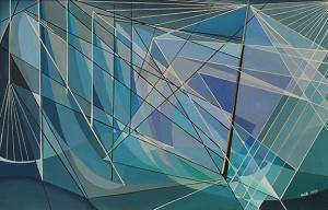 "Hilaire Hiler, ""Violet to Blue Green, Diagonal Shadow"", oil, c. 1948"
