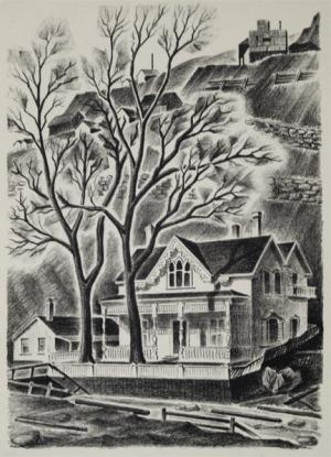 """Arnold H. Ronnebeck, """"House at Gregory Point (Colorado); edition of 25"""", lithograph, 1937"""