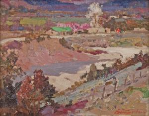 """Fremont Ellis, """"Velarde Valley"""", oil, c. 1940"""