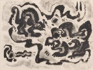 """Emil James Bisttram, """"Untitled"""", charcoal, c. 1950"""