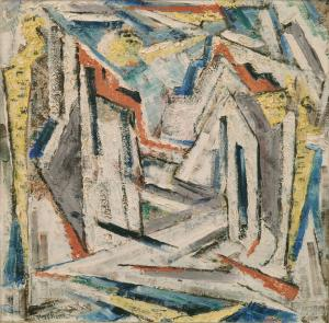 "Charles Ragland Bunnell, ""Ruins at the Church"", oil, 1951 oil painting for sale gallery abstract expressionism colorado"