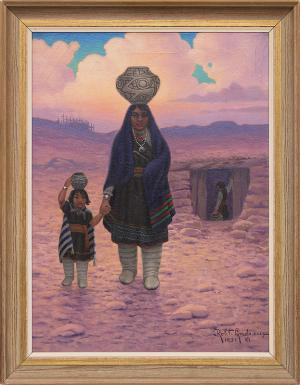 """Robert Ottokar Lindneux, """"Zuni Woman and Child"""", oil on canvas, 1931 for sale purchase consign auction denver Colorado art gallery museum"""