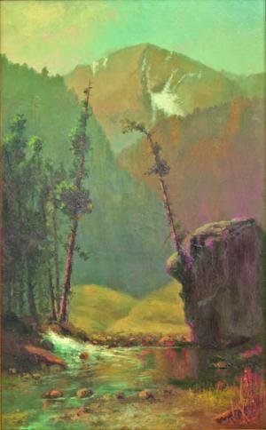 "W.H.M. Cox, ""Untitled (Colorado Landscape)"", oil, c. 1885"