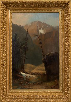 "W.H.M. Cox, ""Untitled (Colorado Landscape)"", oil, c. 1885 painting for sale purchase consign auction denver Colorado art gallery museum"