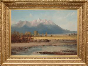 "W.H.M. Cox, ""Untitled (Creek & Mountains, Southern Colorado)"", oil, 1884 painting for sale purchase consign auction denver Colorado art gallery museum"