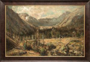 "W.H.M. Cox, ""Untitled (Ouray, Colorado)"", oil on canvas, c. 1885, 19th century historic landscape telluride mountain"