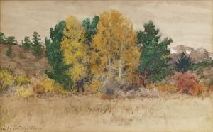 "Charles Partridge Adams, ""Untitled (Trees in Autumn, Colorado)"", mixed media, c. 1900"