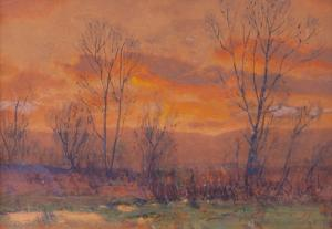 "Charles Partridge Adams, ""Untitled (Sunset, Along the Front Range, Colorado)"", watercolor, c. 1900"