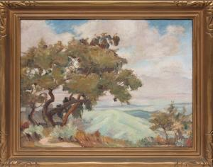 """Louise Everett Nimmo, """"Untitled (California Landscape)"""", oil on canvas, c. 1920 for sale purchase consign auction denver Colorado art gallery museum"""