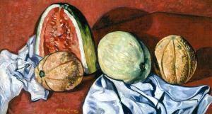 "Richard Hayley Lever, ""Melons"", oil, c. 1930"