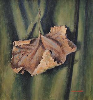 "James Duard Marshall, ""Curling Leaf (Portrait on verso)"", tempera, c. 1940"