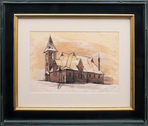 """Jenne Magafan, """"Church in Leadville (Colorado)"""", mixed media, 1938 for sale purchase consign auction denver Colorado art gallery museum"""