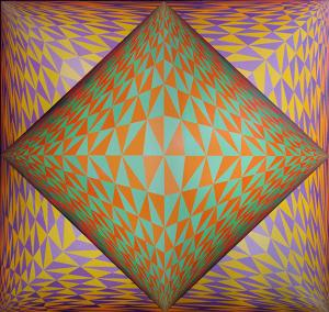 "Edward Goldman, ""Victor"" Op Art, acrylic painting for sale purchase auction consign denver colorado art gallery museum"
