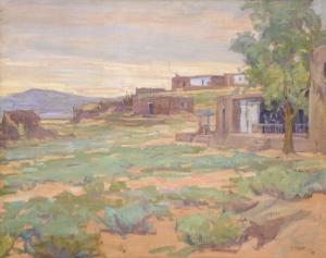 "Allen Tupper True, ""Untitled (Adobes)"", oil, c. 1910 painting for sale purchase art gallery consignment auction"