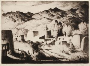 "Gene (Alice Geneva) Kloss, ""Village Evening; edition of 35"", etching, 1951"