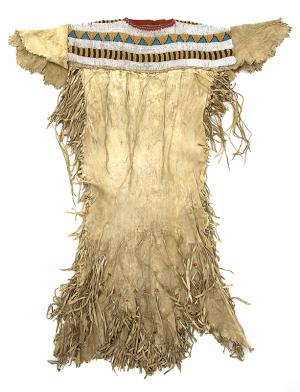 Classic Period Native American Beaded Dress, Blackfeet 'Plains', circa 1860 For Sale