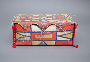 Antique Native American Painted Parfleche Box, Plateau, 19th Century for sale purchase consign auction art gallery museum denver
