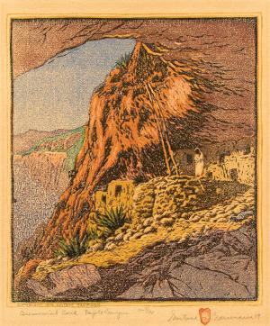 "Gustave Baumann, ""Ceremonial Cave at Frijoles Canyon, 8/100"", woodcut (nailcut), 1919"