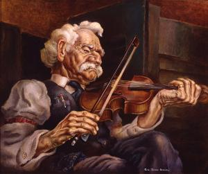 """Eric James Bransby, """"The Old Fiddler (Old Chris)"""", tempera, 1940, painting art gallery for sale purchase"""