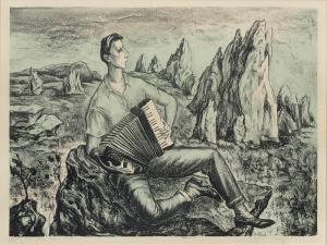 """Peppino Mangravite, """"Young Man Who Went West"""", lithograph, circa 1940"""
