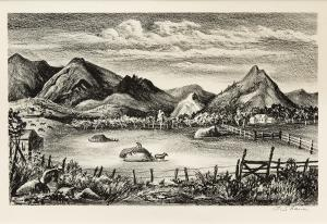 "Frederick Shane, ""Farm in the Rockies (Colorado)"", lithograph, 1938"