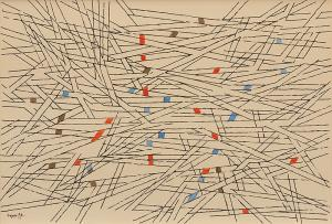 "Herbert Bayer, ""Abstract Composition in Brown, Orange and Blue"", watercolor, 1954 for sale purchase"