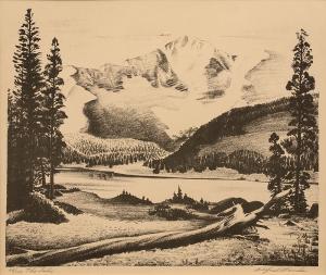 "Alfred James Wands, ""The Lake (Colorado), 66/100"", lithograph painting for purchase sale consignment auction denver colorado art gallery museum"