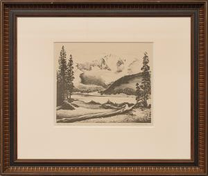 "Alfred James Wands, ""The Rockies print silkscreen painting fine art for sale purchase buy sell auction consign denver colorado art gallery museum"