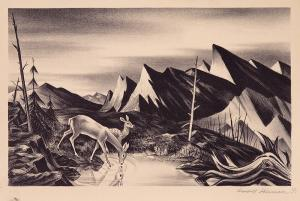 "James Russell Sherman, ""Deer Drinking"", lithograph, 1939"