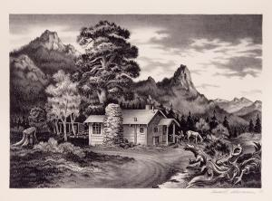 """James Russell Sherman, """"Tiny Town Cabin"""", lithograph, 1939"""