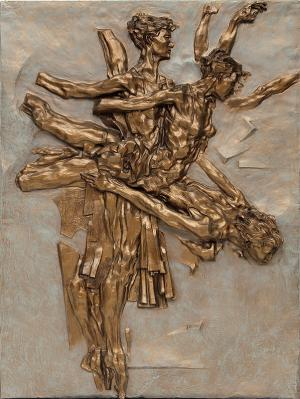 "Eric James Bransby, ""Grand Jete"", bronze relief sculpture, art gallery for sale purchase consignment auction"