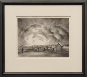 """Victoria Huntley, """"Dawn Came; edition of 250"""", lithograph, 1946 for sale purchase consign auction denver Colorado art gallery museum"""
