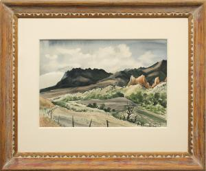 "Adolf Arthur Dehn, ""The Garden of the Gods (Colorado)"", watercolor, 1939 for sale purchase consign auction denver Colorado art gallery museum"