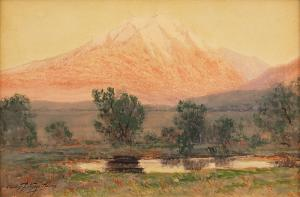 "Charles Partridge Adams, ""Sunset on Mt. Sopris (Colorado)"", watercolor, circa 1915"