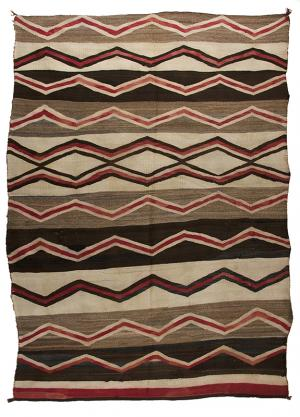 Navajo Rug vintage trading post 1940 1930 1920 wool textile weaving red brown black ivory white