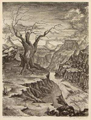 "Harvey Margolis, ""Desolate Ruler; 2/12"", lithograph, 1952"