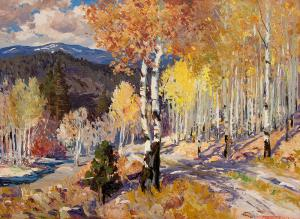 """Fremont Ellis, """"Autumn Aspen - Santa Fe Canyon (New Mexico)"""", oil, circa 1928"""