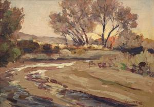 "Fremont Ellis, ""Rio, Pecos, New Mexico"", oil, c. 1930 painting for purchase sale consignment auction denver colorado art gallery museum"